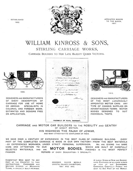 A 1910 advertisement for William Kinross & Sons.